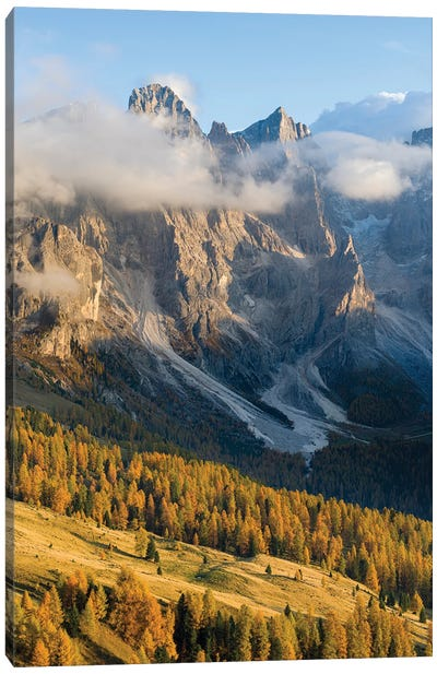 Peaks towering over Val Venegia. Pala group (Pale di San Martino) in the dolomites of Trentino, Italy Canvas Art Print