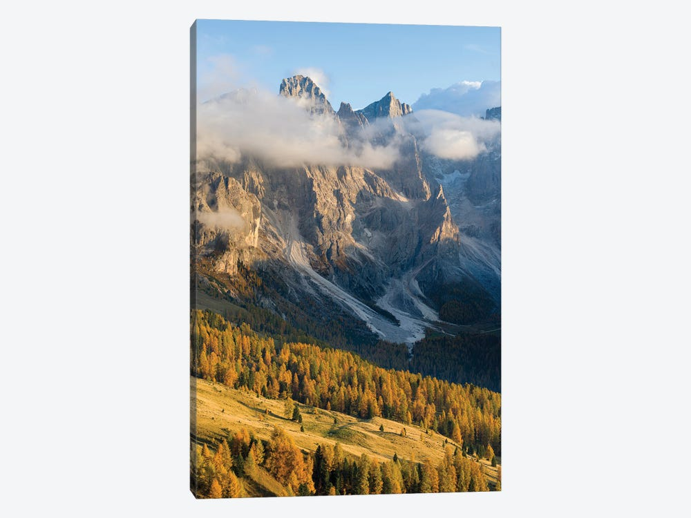 Peaks towering over Val Venegia. Pala group (Pale di San Martino) in the dolomites of Trentino, Italy by Martin Zwick 1-piece Canvas Print