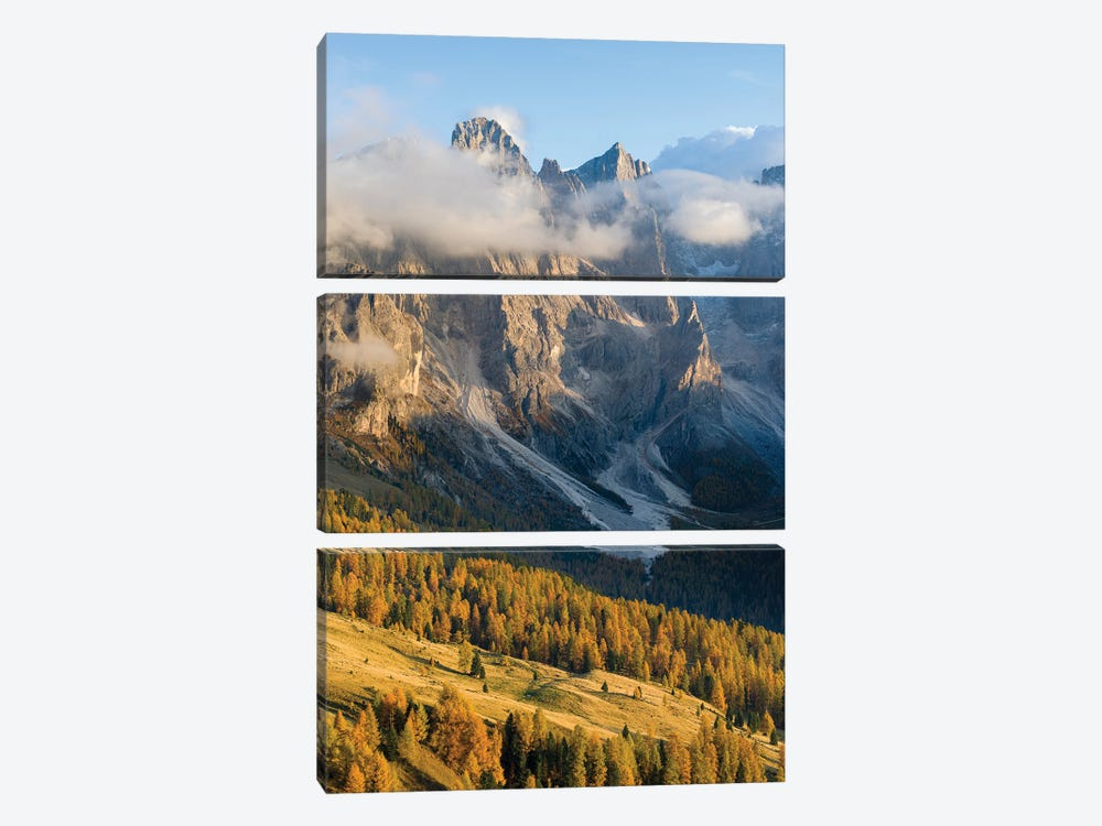 Peaks towering over Val Venegia. Pala group (Pale di San Martino) in the dolomites of Trentino, Italy by Martin Zwick 3-piece Art Print