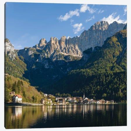 Alleghe at Lago di Alleghe under the peak of Civetta, an icon of the dolomites in the Veneto, Italy 3-Piece Canvas #MZW294} by Martin Zwick Canvas Wall Art