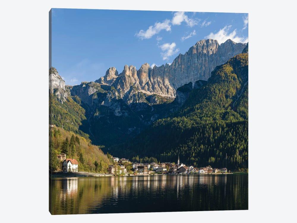 Alleghe at Lago di Alleghe under the peak of Civetta, an icon of the dolomites in the Veneto, Italy by Martin Zwick 1-piece Canvas Wall Art
