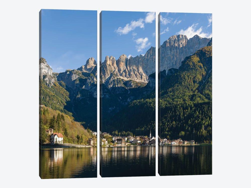 Alleghe at Lago di Alleghe under the peak of Civetta, an icon of the dolomites in the Veneto, Italy by Martin Zwick 3-piece Canvas Art