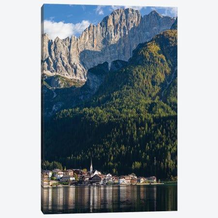 Alleghe at Lago di Alleghe under the peak of Civetta, an icon of the dolomites in the Veneto, Italy 3-Piece Canvas #MZW295} by Martin Zwick Canvas Art