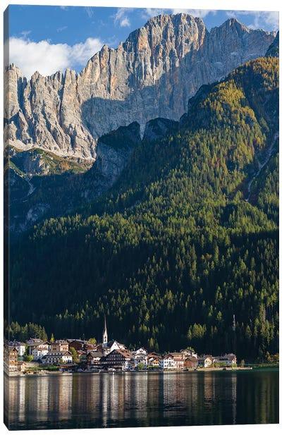 Alleghe at Lago di Alleghe under the peak of Civetta, an icon of the dolomites in the Veneto, Italy Canvas Art Print