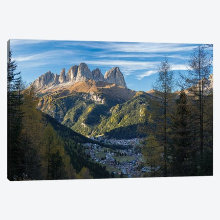 View of Langkofel (Sasso Lungo) from Val Contrin in the Marmolada mountain range in the Dolomites Canvas Print #MZW297} by Martin Zwick Canvas Wall Art