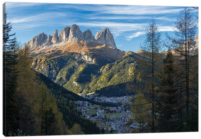 View of Langkofel (Sasso Lungo) from Val Contrin in the Marmolada mountain range in the Dolomites Canvas Art Print