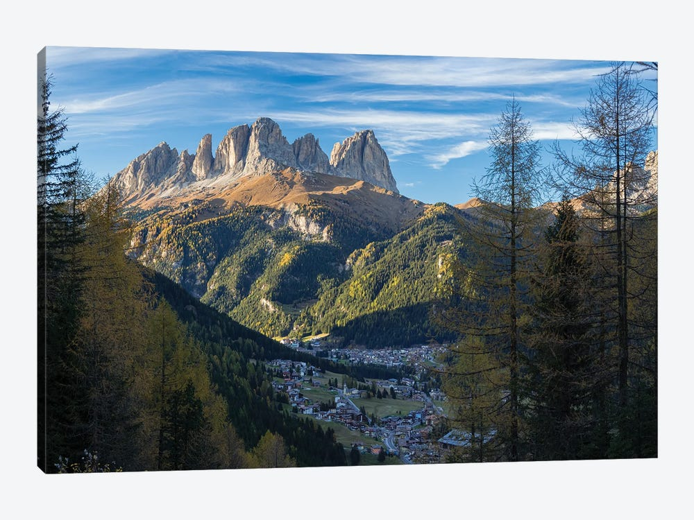 View of Langkofel (Sasso Lungo) from Val Contrin in the Marmolada mountain range in the Dolomites by Martin Zwick 1-piece Canvas Print