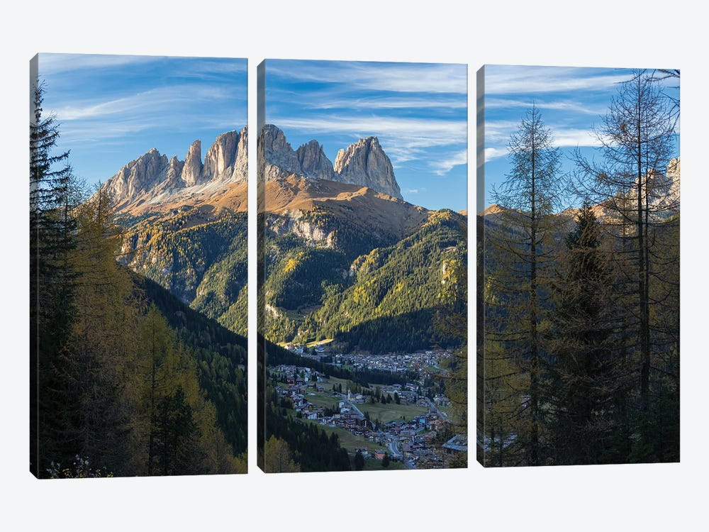 View of Langkofel (Sasso Lungo) from Val Contrin in the Marmolada mountain range in the Dolomites by Martin Zwick 3-piece Art Print