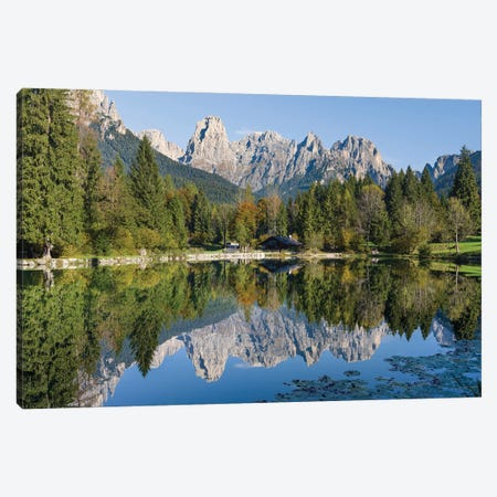 Lago Welsperg. Valle del Canali in the mountain range Pale di San Martino, in the dolomites of the Primiero, Italy. Canvas Print #MZW298} by Martin Zwick Art Print