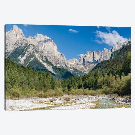 Valle del Canali in the mountain range Pale di San Martino,in the dolomites of the Primiero, Italy. Canvas Print #MZW299} by Martin Zwick Canvas Art Print