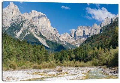 Valle del Canali in the mountain range Pale di San Martino,in the dolomites of the Primiero, Italy. Canvas Art Print