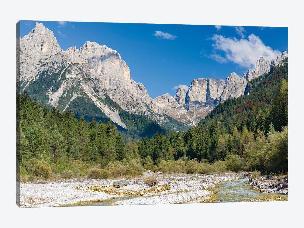 Valle del Canali in the mountain range Pale di San Martino,in the dolomites of the Primiero, Italy. by Martin Zwick 1-piece Canvas Art Print
