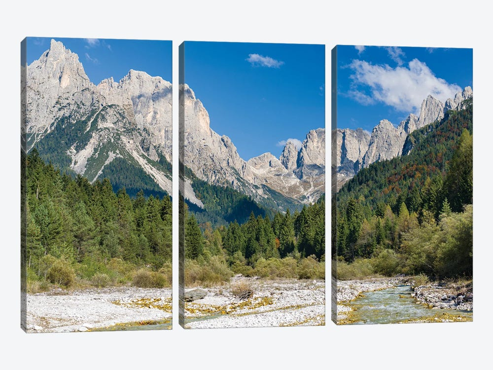 Valle del Canali in the mountain range Pale di San Martino,in the dolomites of the Primiero, Italy. by Martin Zwick 3-piece Canvas Art Print