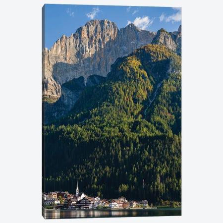 Alleghe at Lago di Alleghe under the peak of Civetta, an icon of the dolomites in the Veneto Canvas Print #MZW301} by Martin Zwick Canvas Art Print