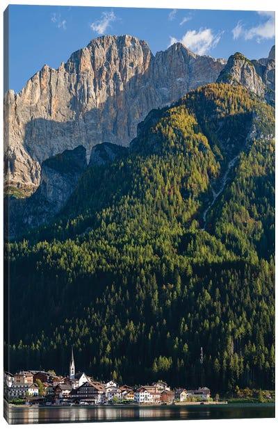 Alleghe at Lago di Alleghe under the peak of Civetta, an icon of the dolomites in the Veneto Canvas Art Print