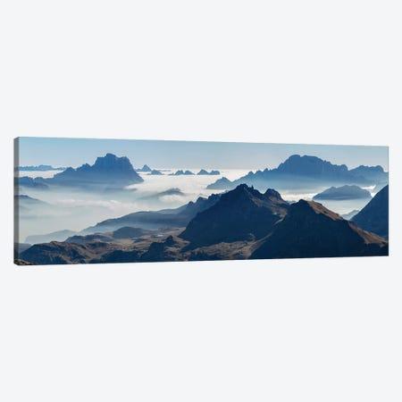 View towards Antelao, Pelmo, Civetta seen from Sella mountain range (Gruppo del Sella) in the Dolomites Canvas Print #MZW302} by Martin Zwick Canvas Print
