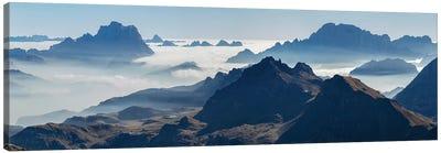 View towards Antelao, Pelmo, Civetta seen from Sella mountain range (Gruppo del Sella) in the Dolomites Canvas Art Print