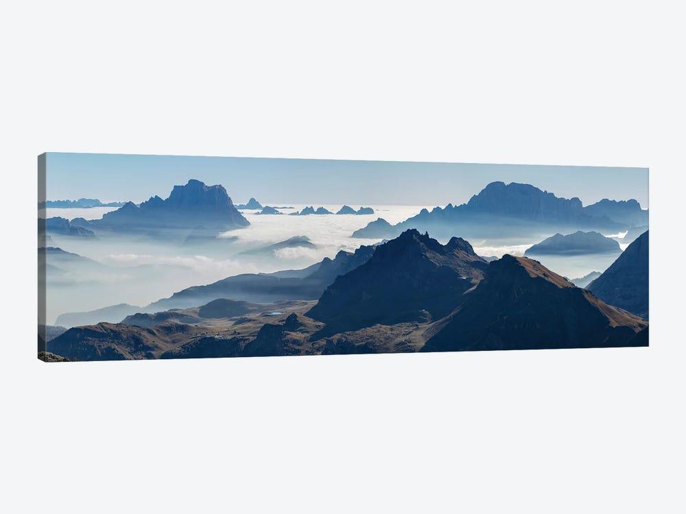View towards Antelao, Pelmo, Civetta seen from Sella mountain range (Gruppo del Sella) in the Dolomites by Martin Zwick 1-piece Canvas Wall Art