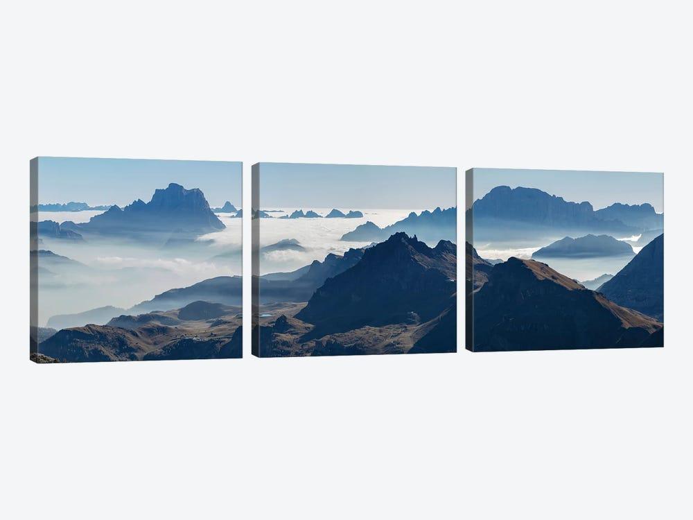 View towards Antelao, Pelmo, Civetta seen from Sella mountain range (Gruppo del Sella) in the Dolomites by Martin Zwick 3-piece Canvas Wall Art