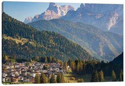 Falcade in Val Biois, Monte Pelmo in the background. Italy. Canvas Art Print