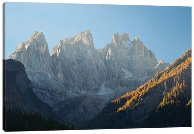 Focobon mountain range in the Pale di San Martino in the Dolomites of Trentino Canvas Art Print