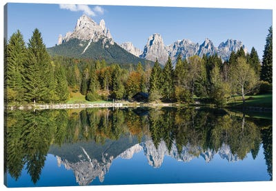 Lago Welsperg. Valle del Canali in the mountain range Pale di San Martino, in the Dolomites of the Primiero. Italy. Canvas Art Print