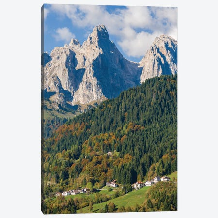 Villages Sarasin and Pongan in the Veneto under the peaks of the mountain range Pale di San Martino Canvas Print #MZW307} by Martin Zwick Canvas Art