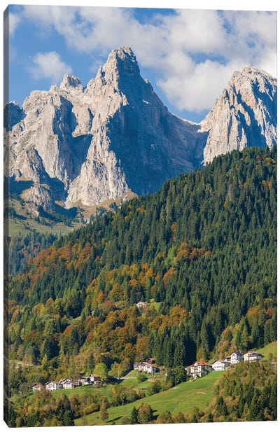 Villages Sarasin and Pongan in the Veneto under the peaks of the mountain range Pale di San Martino Canvas Art Print