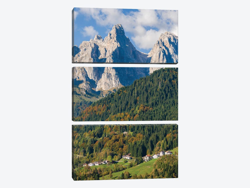 Villages Sarasin and Pongan in the Veneto under the peaks of the mountain range Pale di San Martino by Martin Zwick 3-piece Art Print