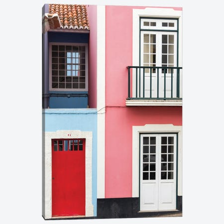 The typical facades of the houses in the historic center. Capital Angra do Heroismo historic center Canvas Print #MZW308} by Martin Zwick Art Print
