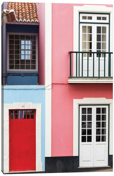 The typical facades of the houses in the historic center. Capital Angra do Heroismo historic center Canvas Art Print