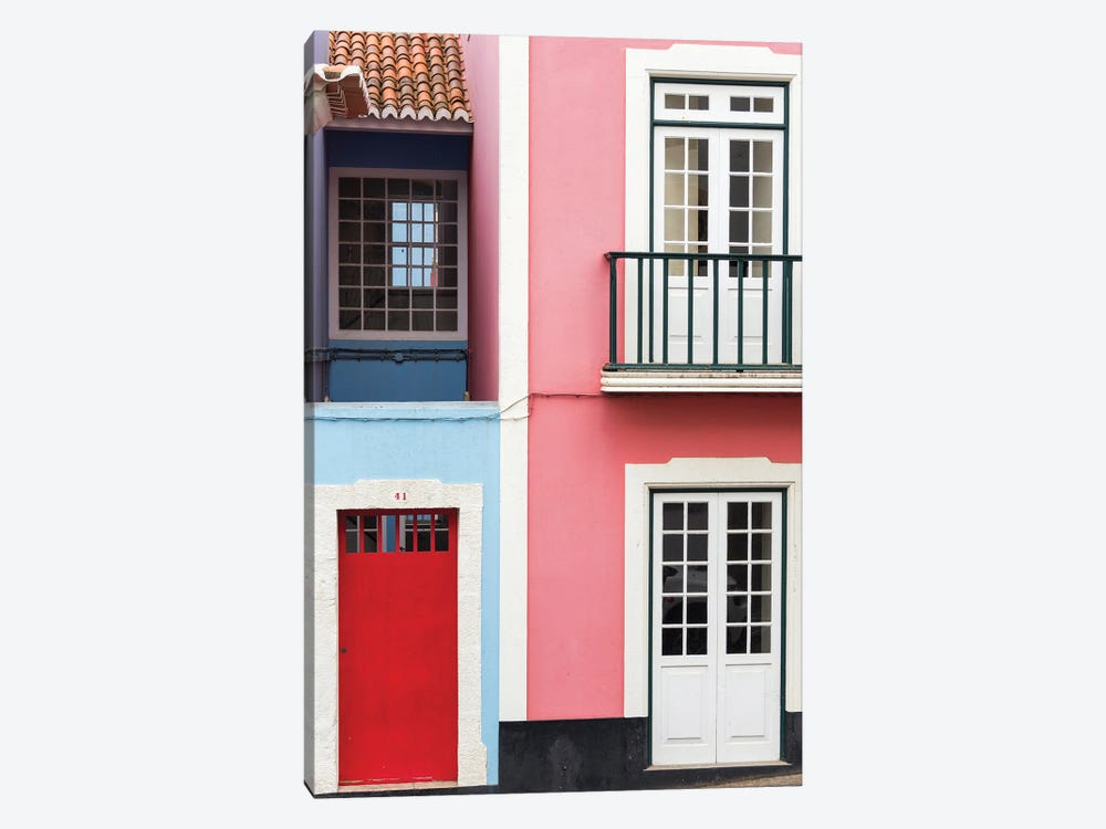 The typical facades of the houses in the historic center. Capital Angra do Heroismo historic center by Martin Zwick 1-piece Canvas Wall Art