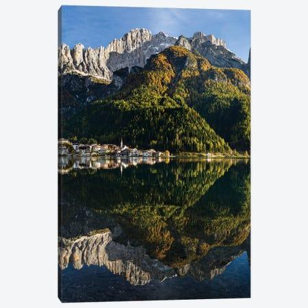 Village Alleghe at Lago di Alleghe at the foot of mount Civetta, Dolomites, Veneto, Italy Canvas Print #MZW30} by Martin Zwick Canvas Art Print
