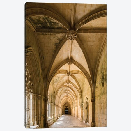 Claustro Real, the royal cloister, Mosteiro de Santa Maria da Vitoria, Portugal.  Canvas Print #MZW34} by Martin Zwick Canvas Art