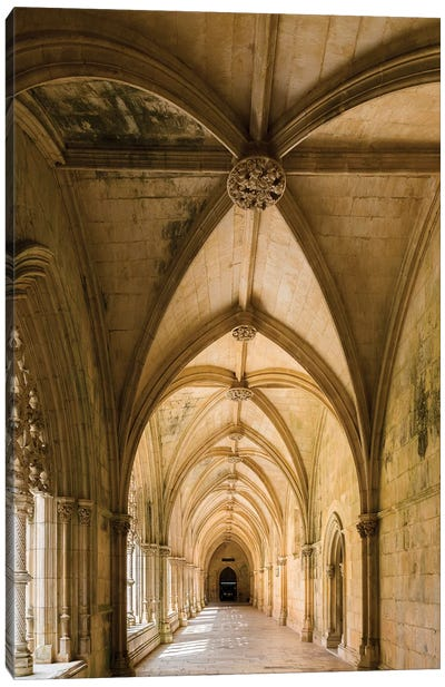 Claustro Real, the royal cloister, Mosteiro de Santa Maria da Vitoria, Portugal.  Canvas Art Print
