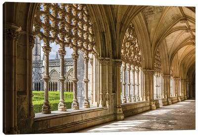 Claustro Real, the royal cloister. Monastery of Batalha, Mosteiro de Santa Maria da Vitoria Canvas Art Print