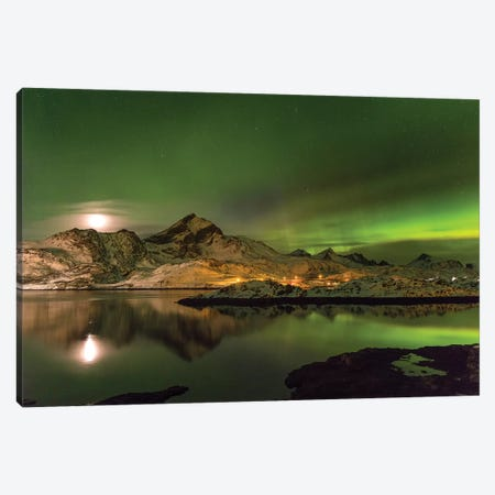 Aurora Borealis. Kakersundet. Lofoten Islands. Norway Canvas Print #MZW3} by Martin Zwick Canvas Artwork