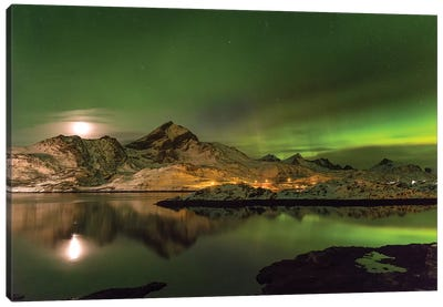 Aurora Borealis. Kakersundet. Lofoten Islands. Norway Canvas Art Print