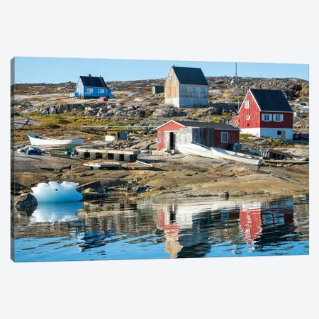 Inuit village Oqaatsut (once called Rodebay) located in Disko Bay. Greenland Canvas Print #MZW41} by Martin Zwick Canvas Wall Art