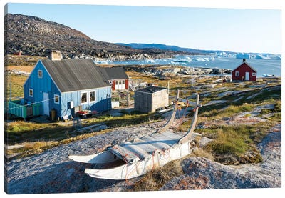 Inuit village Oqaatsut (once called Rodebay) located in Disko Bay. Greenland Canvas Art Print