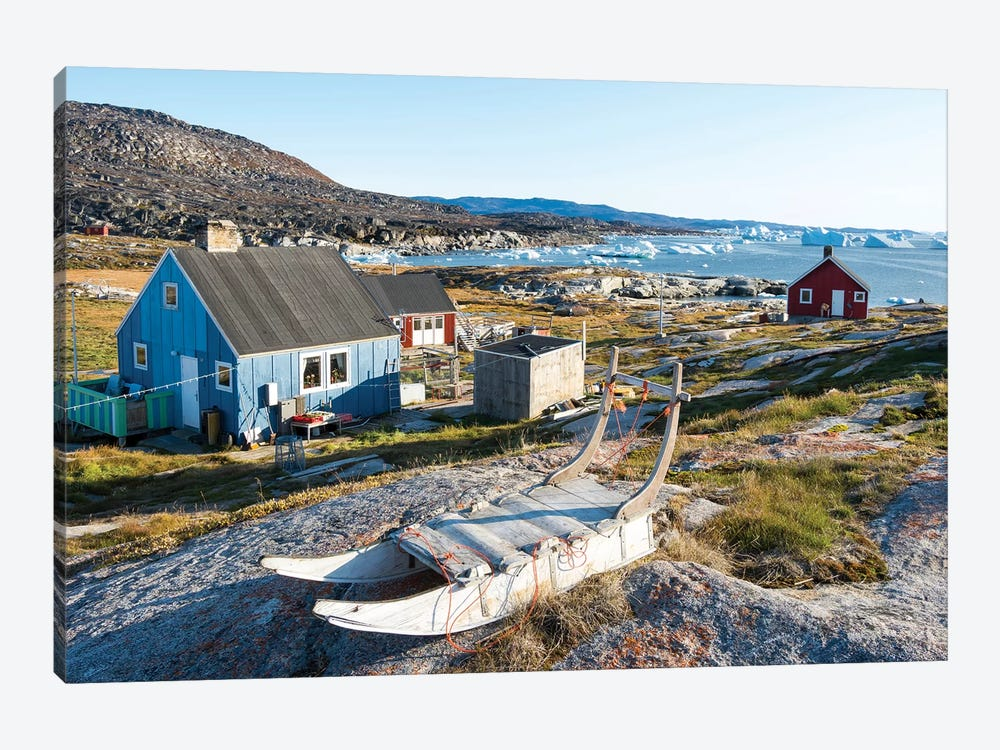 Inuit village Oqaatsut (once called Rodebay) located in Disko Bay. Greenland by Martin Zwick 1-piece Canvas Print