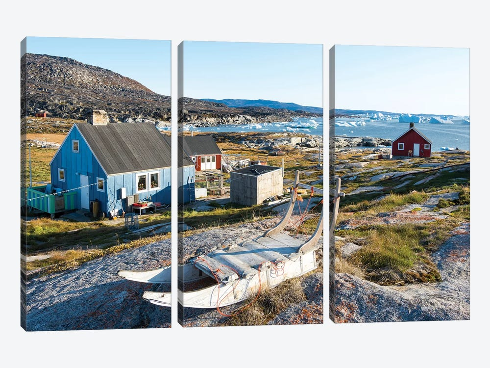 Inuit village Oqaatsut (once called Rodebay) located in Disko Bay. Greenland by Martin Zwick 3-piece Canvas Art Print