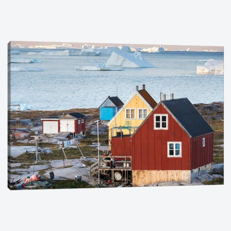 Inuit village Oqaatsut (once called Rodebay) located in Disko Bay. Greenland Canvas Print #MZW44} by Martin Zwick Canvas Art Print