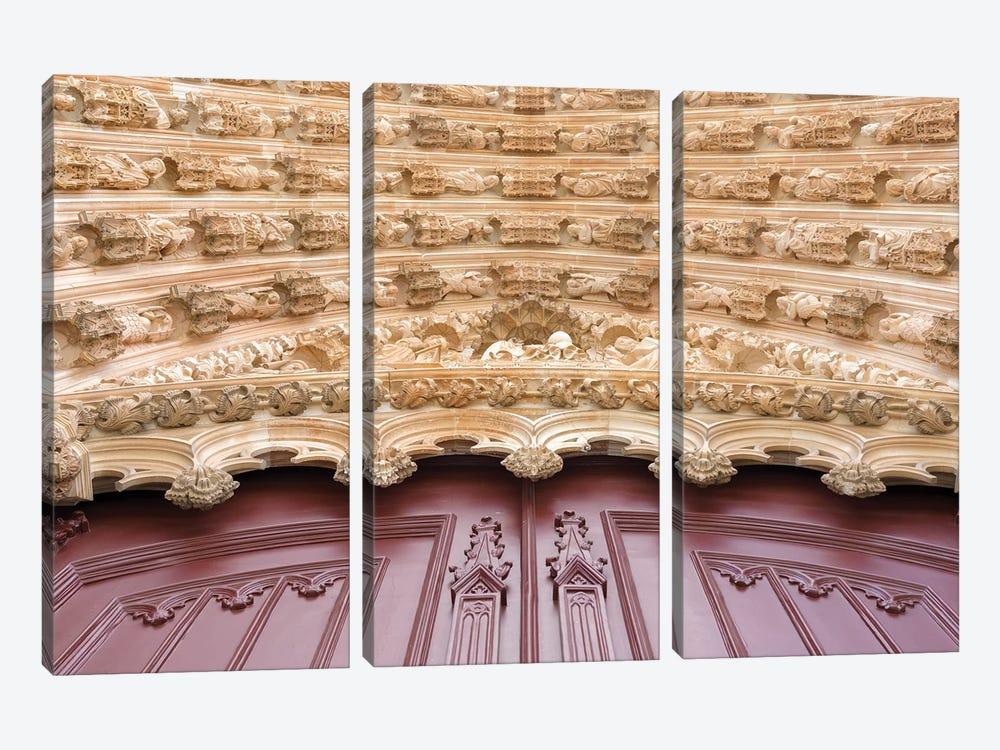 Main portal for the monastery of Batalha, Mosteiro de Santa Maria da Vitoria, Portugal by Martin Zwick 3-piece Canvas Print