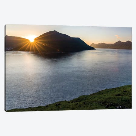 Fjord Fuglafjordur and Leirviksfjordur at sunset, island Kalsoy, Denmark Canvas Print #MZW4} by Martin Zwick Art Print