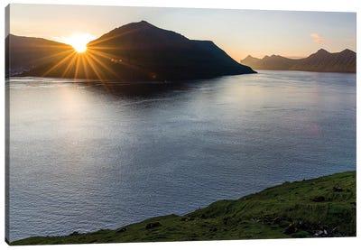 Fjord Fuglafjordur and Leirviksfjordur at sunset, island Kalsoy, Denmark Canvas Art Print