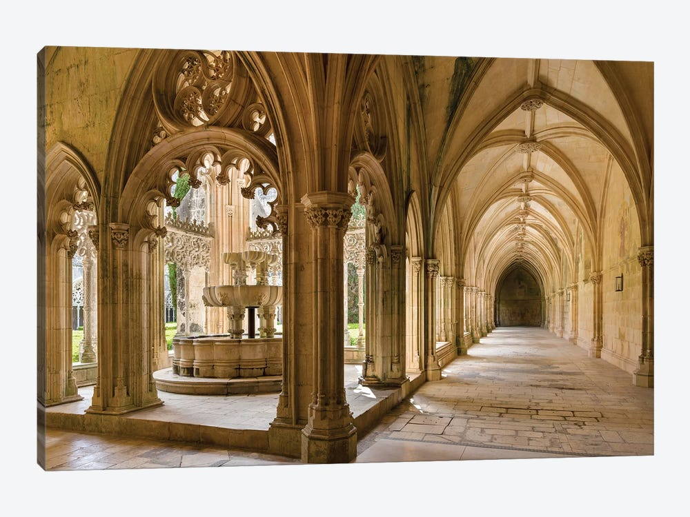 The fountain and water basin in the Claustro Real, royal cloister. Monastery of Batalha, Portugal  by Martin Zwick 1-piece Canvas Art Print