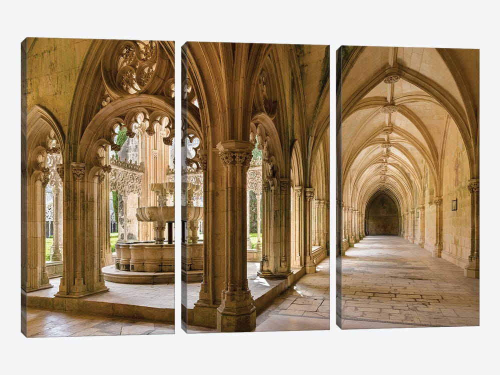The fountain and water basin in the Claustro Real, royal cloister. Monastery of Batalha, Portugal  by Martin Zwick 3-piece Art Print
