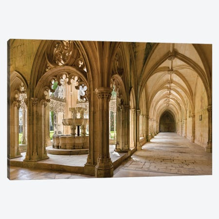 The fountain and water basin in the Claustro Real, royal cloister. Monastery of Batalha, Portugal  Canvas Print #MZW52} by Martin Zwick Canvas Art Print