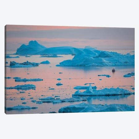 Boat at Ilulissat Icefjord, UNESCO, Ilulissat Kangerlua at Disko Bay. Greenland  Canvas Print #MZW58} by Martin Zwick Canvas Print